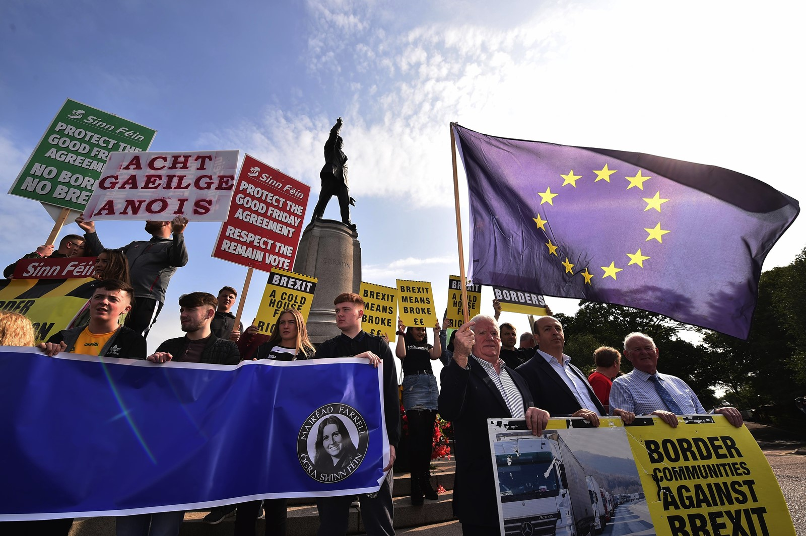 Anti-Brexit demonstrators gather in Belfast as British Prime Minister Boris Johnson visits Stormont, the seat of government in Northern Ireland. — Photograph: Charles McQuillan/Getty Images.
