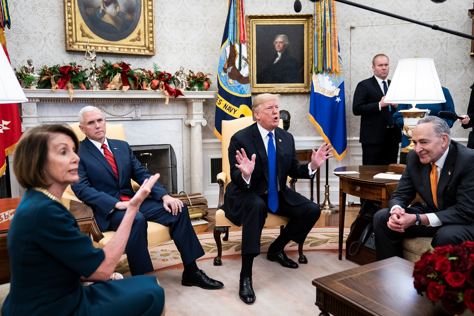 Democratic leaders Nancy Pelosi and Charles E. Schumer, right, meet with President Donald J. Trump and Vice President Mike Pence. — Photograph: Jabin Bostford/The Washington Post.