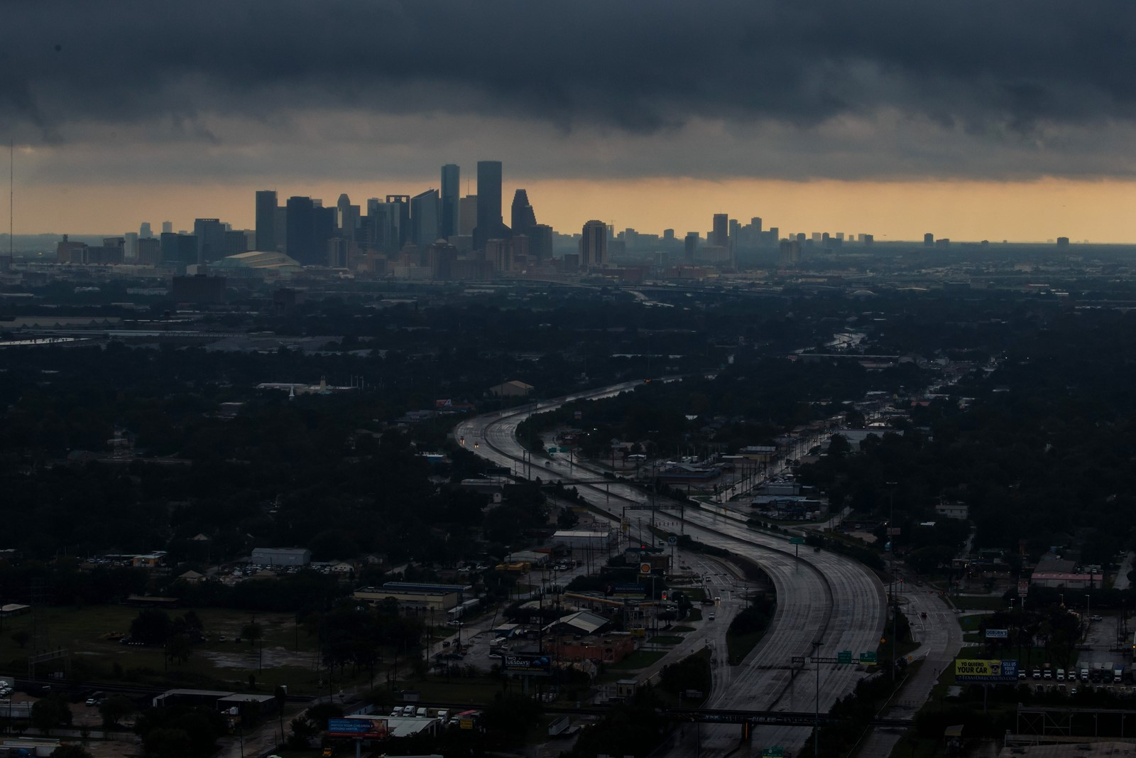 Houston is seen on August 29, 2017, in the wake of Hurricane Harvey's arrival. The storm caused toxic spills. — Photograph: Marcus Yam/Los Angeles Times.