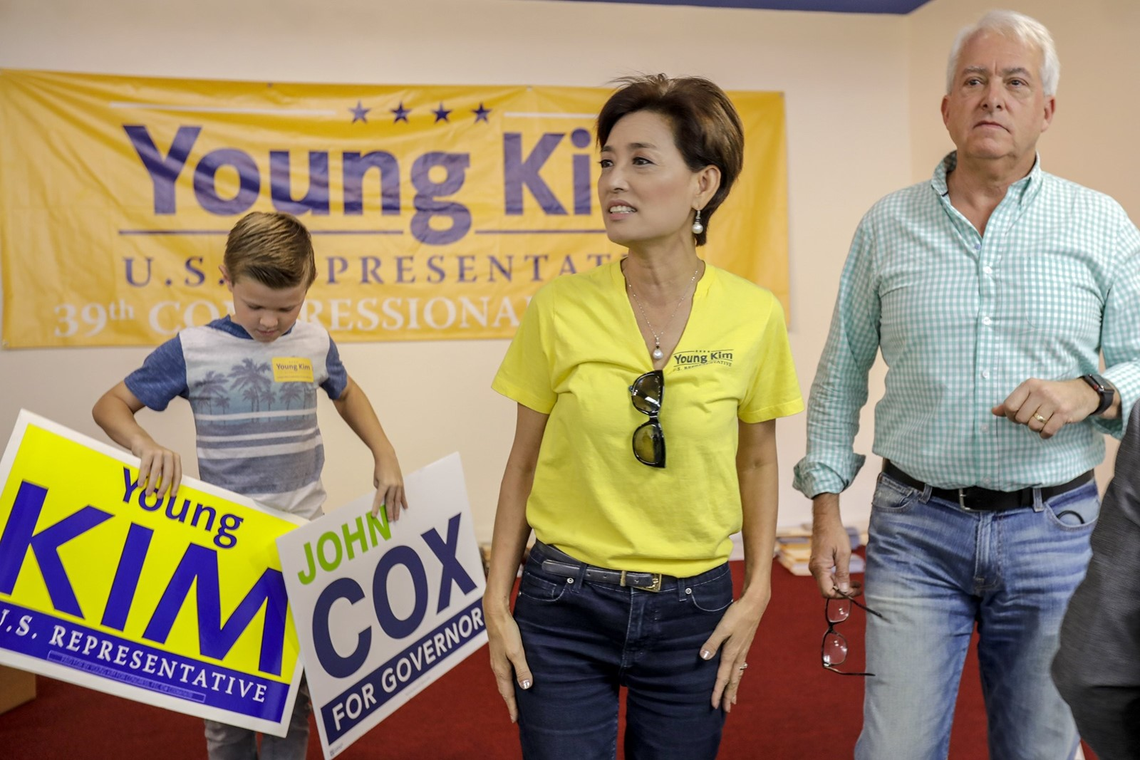 Republican John Cox with Young Kim, one of six GOP House hopefuls he out-ran in his bid for governor. — Photograph: Irfan Khan/Los Angeles Times.