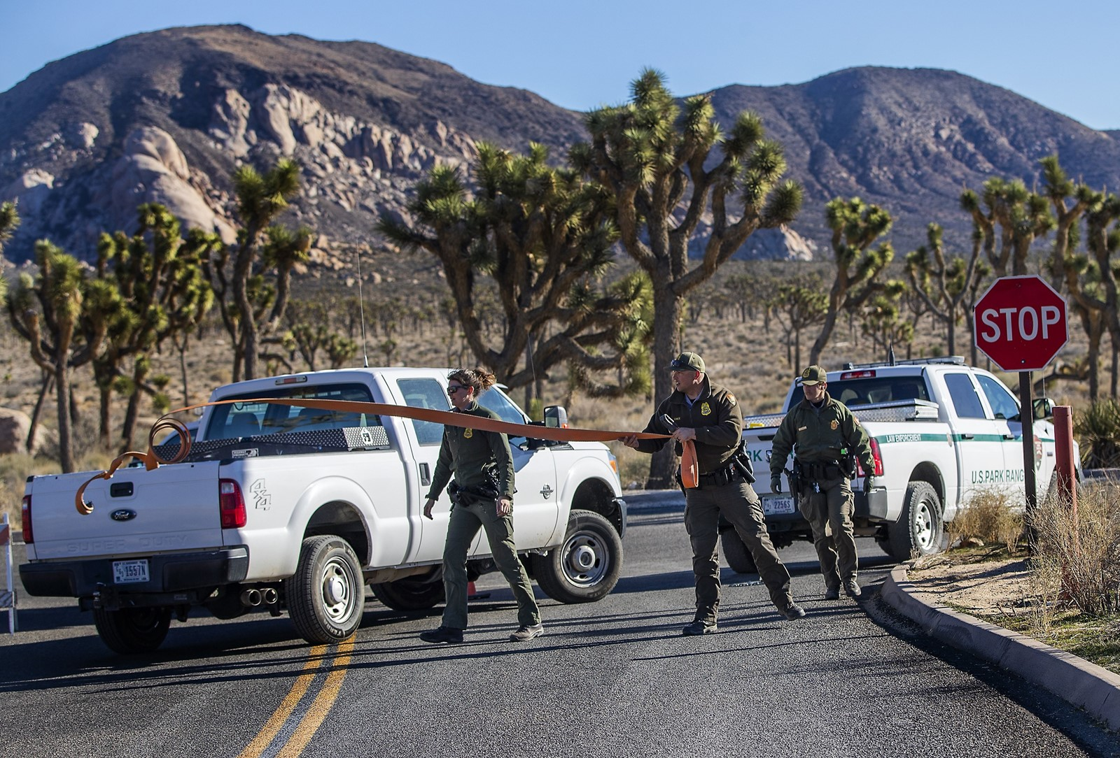Rangers close off the road to a campground at Joshua Tree National Park. All of its campgrounds were closed at noon on Wednesday because the government shutdown prevented routine cleanup and maintenance. — Photograph: Gina Ferazzi/Los Angeles Times.