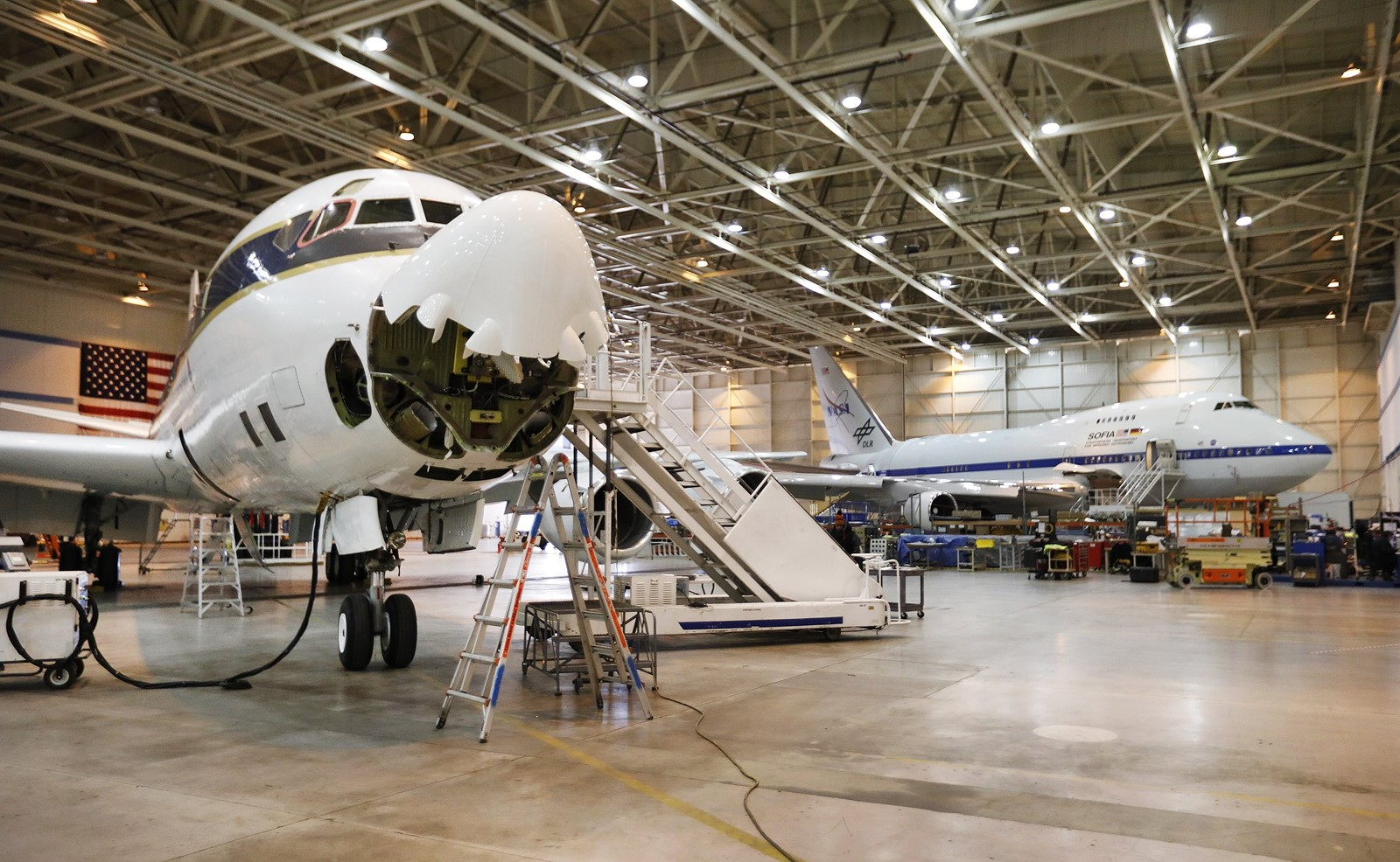 NASA uses a DC-8 based in Palmdale to analyze atmospheric samples. The U.S. EPA and Texas' counterpart rejected NASA's offer of the unique flying laboratory to study pollutants unleashed by Hurricane Harvey in Houston. — Photograph: Al Seib/Los Angeles Times.