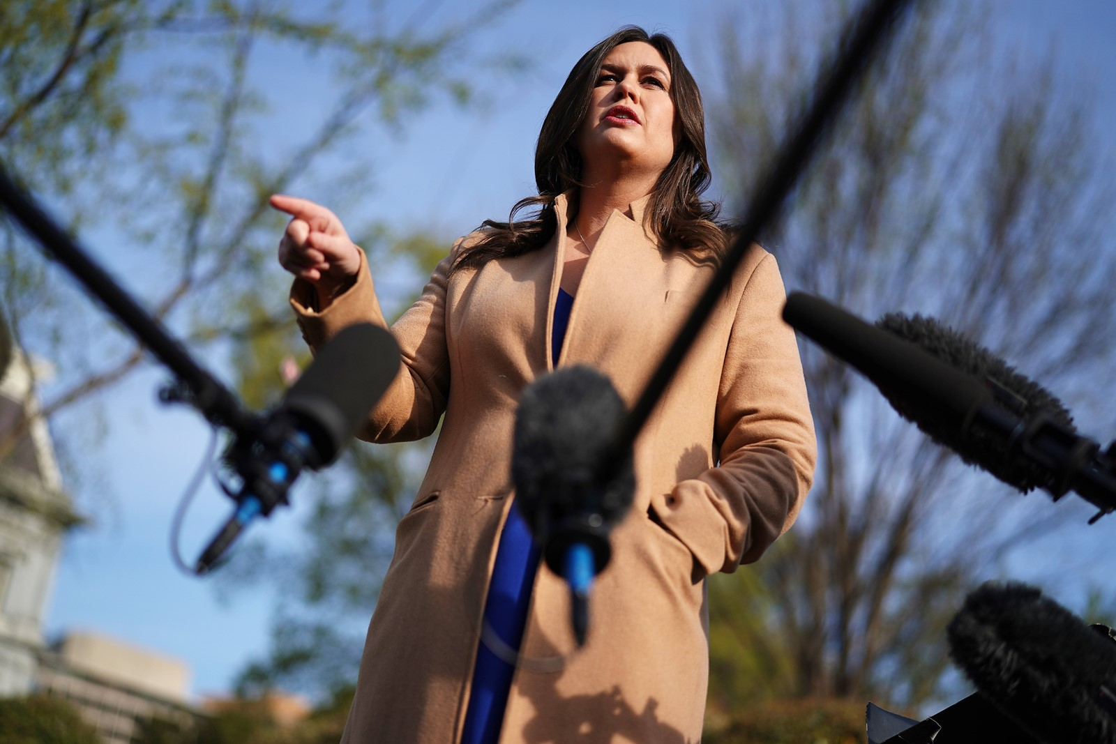 "Sarah Huckabee Sanders says she mis-spoke when she insisted in 2017 that ""countless"" FBI agents were grateful to see Director James B. Comey fired. Dishonesty has been common from this White House. — Photograph: Chip Somodevilla/Getty Images."