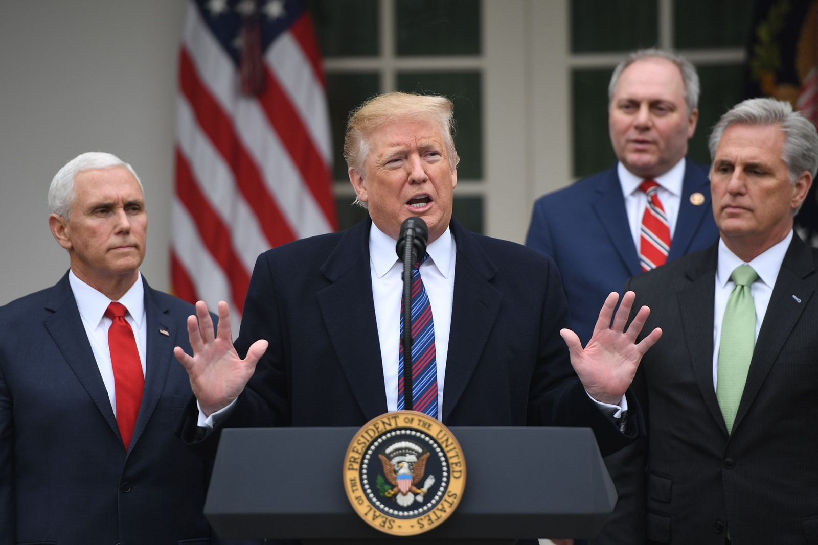 "President Donald J. Trump confirmed he was prepared for the shutdown to last ""months or even years,"" as Democratic leaders had reported. — Photograph: Saul Loeb/Agence France-Presse/Getty Images."