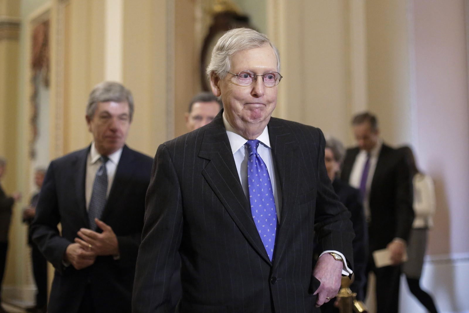 Senate Majority Leader Mitch McConnell has largely left the shutdown fight to President Donald J. Trump after the president in December rejected a funding bill that the White House had indicated Trump would sign. — Photograph: J. Scott Applewhite/Associated Press.