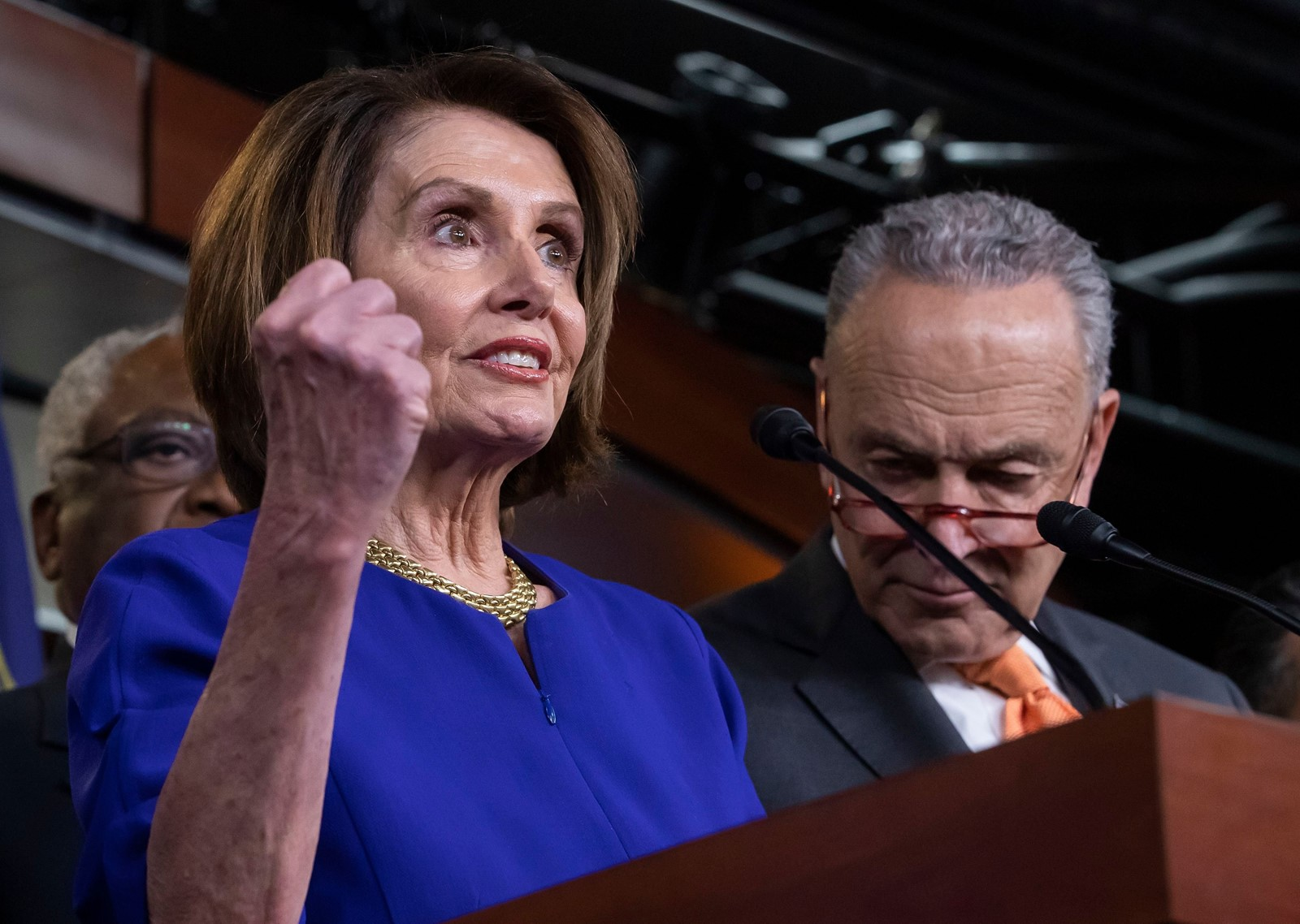 "House Speaker Nancy Pelosi, with Senate Minority Leader Charles E. Schumer, said that President Trump ""couldn't match the greatness of the challenge that we have"" on infrastructure. ""He just took a pass."" — Photograph: Erik S. Lesser/European Pressphoto Agency/Agencia-EFE/Shutterstock."