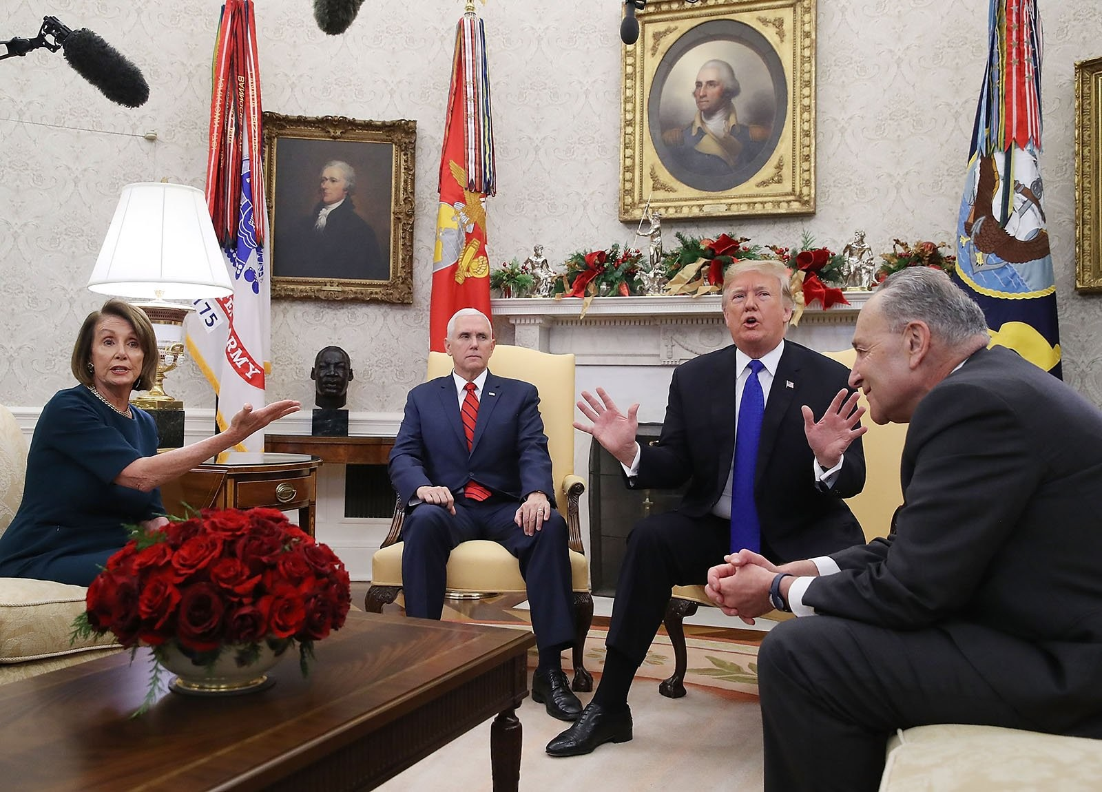 "At the December meeting, President Trump said he would be ""proud"" to force a government shutdown if Democrats didn't meet his border funding demands. — Photograph: Mark Wilson/Getty Images."