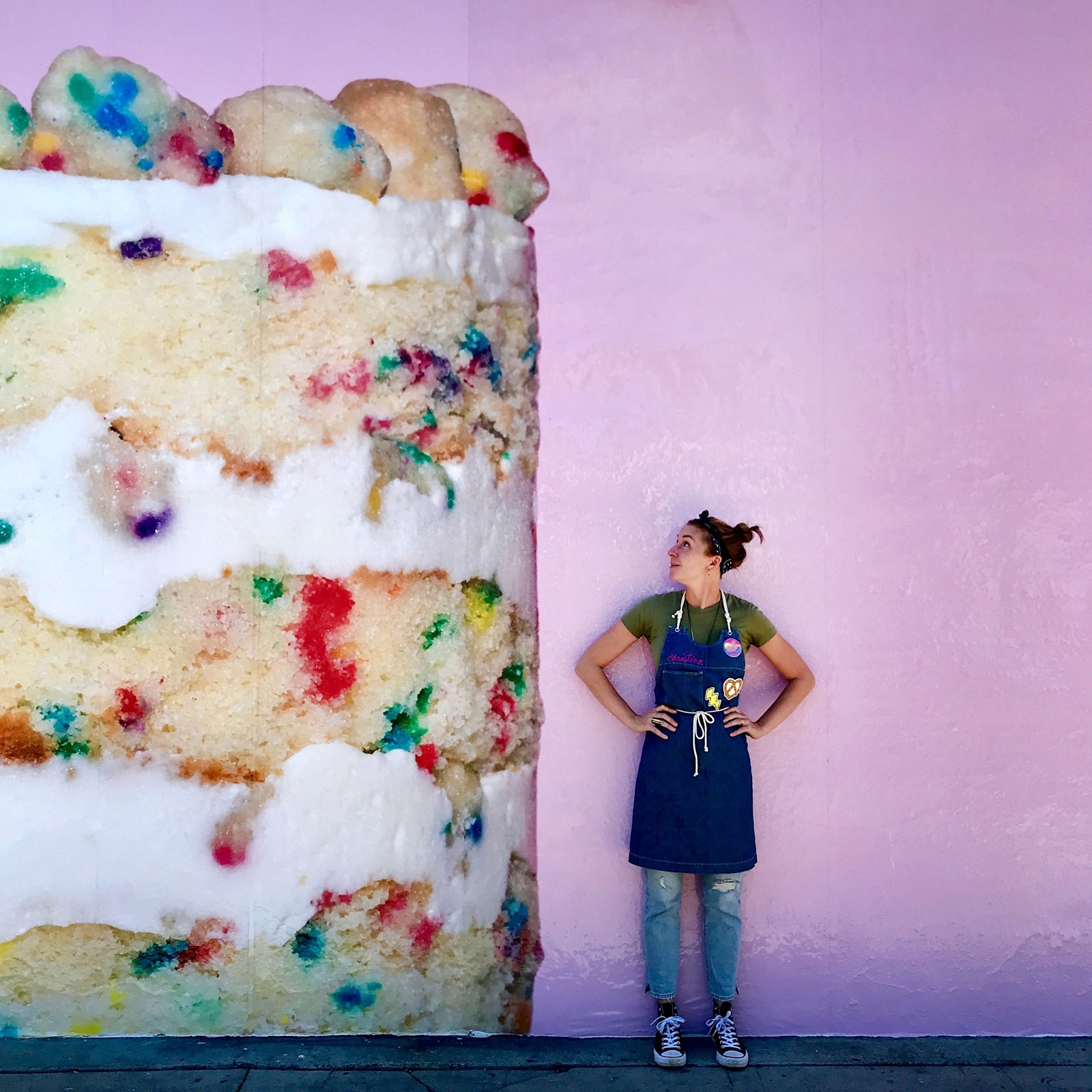 PASTRY CHEF Christina Tosi Above Checks Out A Blown Up Image Of Her Birthday Cake On The Wall Outside New Milk Bar Shop Below Also Production